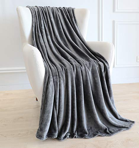 BAICOSE Flannel Fleece Throw Blanket, Super Soft Cozy Microfiber Couch Blankets for All Season, 50x70 Inches Grey
