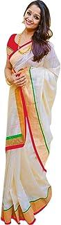 Pramukh Suppliers Women's Chanderi Cotton Saree with Blouse Piece (Z_R; Off White)