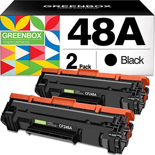 GREENBOX Compatible Toner Cartridge Replacement for HP CF248A 48A for HP Laserjet Pro M15w M15a M16a M16w HP Laserjet MFP M28w M28a M29a MFP M29w 48A CF248A Printer Toner (Black 2 Pack)