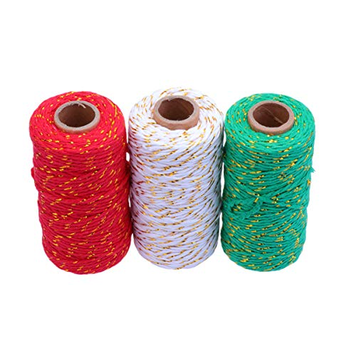 Exceart 3pcs Cotton Rope Cord String Gift Wrapping Rope Hand Woven Candy Rope Ribbon Twine Gift Wrapping Cotton Rope for DIY Arts Crafts Party Decorations