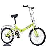 FJW Unisexo Bicicleta Plegable de suspensión 16 Pulgadas 20 Pulgadas Acero de Alto Carbono Estudiante Niño Ciudad del Viajero Bicicleta,Green,16Inch