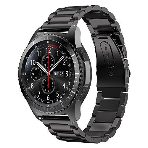 MroTech 22 mm Cinturino Gear s3 Frontier Acciaio Nero Metallo compatibile per Samsung Galaxy Watch 46mm/Huawei Watch 2 Classic/GT/GT2/GT Active/Elegant Braccialetto Cinghia di Polso Banda Black Steel
