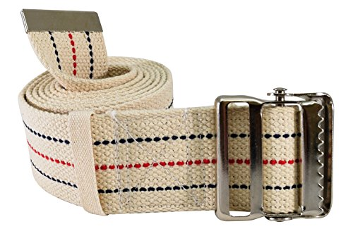 """Secure SGBM-60S Patient Transfer and Walking Gait Belt with Metal Buckle and Belt Loop Holder for Caregiver, Nurse, Therapist, etc. (60"""" x 2"""" (Beige/Striped))"""
