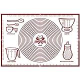 Spianatoia per Impastare 60x40 Disegno Italiano Misure in CM - Tappetino da Forno in Silicone Riutilizzabile Antiaderente Resistente al calore Tappeto da Cucina per Pasta fatta in Casa Pasticceria