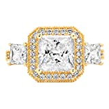 Clara Pucci 3.03 ct Halo Three Stone Cushion & Princess Brilliant Cut CZ Designer Band Ring in 14K Yellow Gold