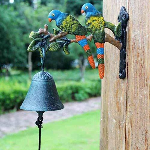 CJH klassieke retro gietijzer met de hand ringende deurbel papegaai tuin werf