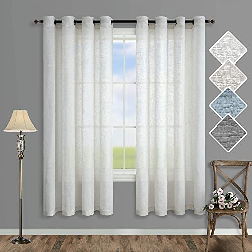 Off White Sheer Curtains 63 Inch Length for Bedroom 2 Panel Grommet Linen Light Filtering Cloth Greige Semi Transparent Curtain for Kitchen Living Room Summer Country Chic Boho Decor Ivory Cream 52x63