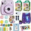 Fujifilm Instax Mini 11 Camera + Fuji Instant Instax Film (40 Sheets) Includes Galaxy Camera Case + Frames, Photo Album, 4 Color Filters and More Top Accessories Bundle Lilac Purple