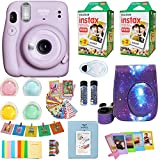 Fujifilm Instax Mini 11 + Fuji Instant Instax Film (40 hojas) incluye funda para cámara Galaxy + marcos, álbum de fotos, 4 filtros de color y más accesorios superiores, paquete lila y morado