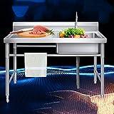 Fregadero para uso general Fregaderos de restaurante comerciales 1 compartimento de un solo tazón con soporte, grifo, banco de trabajo, utilizado en bares, restaurantes, cantinas,left-120cm×60cm×80cm