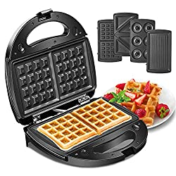 🍩【4-in-1 Function】--This waffle maker comes with waffle, panini, sandwich, and donut plates. One machine meets all your needs. For best results, we recommend turning the waffle over for cooking halfway through making, so that you can get a perfect 2 ...