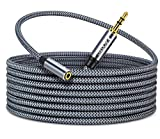 10ft 3.5mm Stereo Audio Extension Cable,Faodzc Braided 3.5 mm Male to Female Stereo Audio Aux Headphone Extension Cord Double Shielding 1/8 Aux Extension Compatible with Headphones,Echo Dog,iPhone