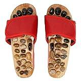 CUTULAMO Zapatos De Acupresión, Tablero De Madera, Correas Ajustables, Zapatillas De Terapia, Fondo Compuesto De EVA para Caminar para El Baño(39-40)