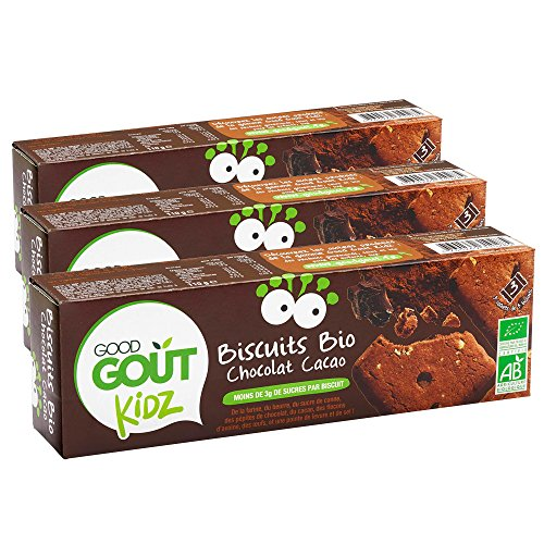 Good Goût - BIO - Kidz Biscuits Chocolat Cacao dès 3 Ans 110 g - Lot de 3