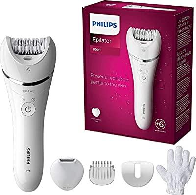 Philips Epilator Series 8000, Wet & Dry hair removal for legs and body, Powerful epilation, 6 accessories, BRE715/01