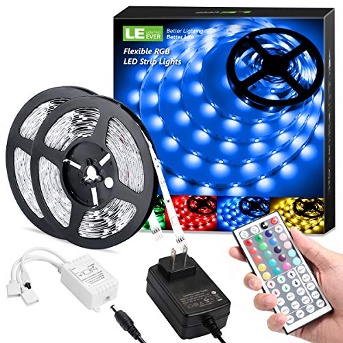LE LED Strip Lights 328ft RGB 5050 LED Strips with Remote Controller Color Changing Tape Light with 12V Power Supply for Room Bedroom TV Kitchen Desk