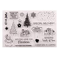 PULABO クリスマスツリー雪だるまクリアスタンプシールDIYスクラップブックエンボスアルバム装飾クラフトアート耐久性と便利 使いやすい、高品質の