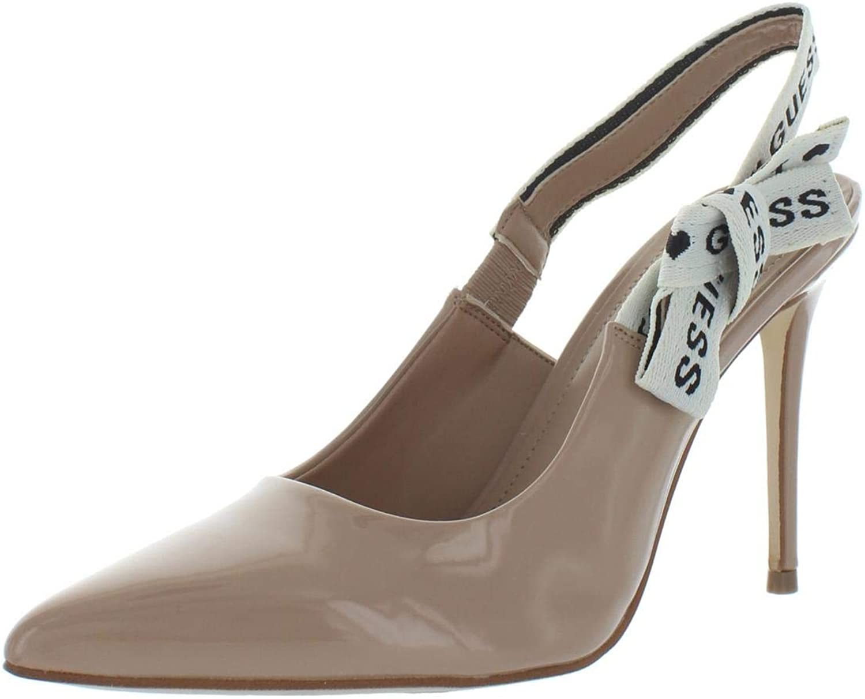 GUESS Womens Baji Patent Pointed Toe Slingback Heels