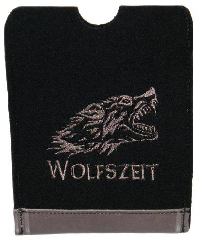Hülle für ebook Reader Filz & Leder, Bestickt mit Wölfskopf; Wolfszeit Gerätehöhe bis ca. 17cm