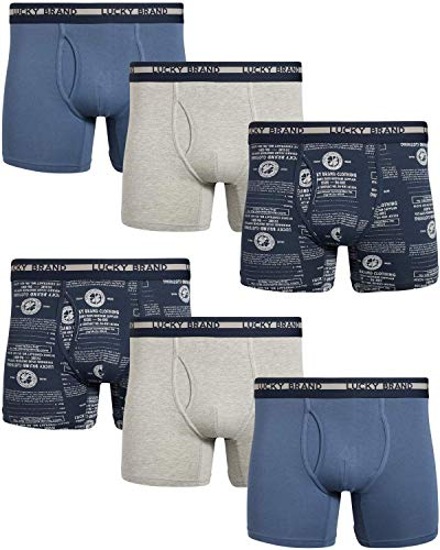 Lucky Brand Men's Cotton Stretch Boxer Briefs with Functional Fly (6 Pack) (Light Blue/Blue/Heather Grey, X-Large)