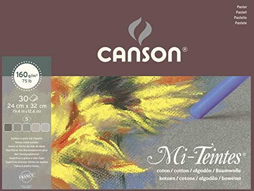 Canson Mi-Teintes - 1 bloc de papel, 24 x 32 cm, color tonos grises