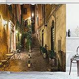 DAOJIA 48X72inch Cortina de Ducha Italiana Old Courtyard Roma Italia Sillas de café Ciudad Casas históricas en la Calle Tela de Tela Baño Decoración Set con Ganchos