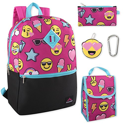 5 in 1 Backpack with Lunch Bag Set for Girls, Backpack and Lunch Box Set Elementary (Smiles)