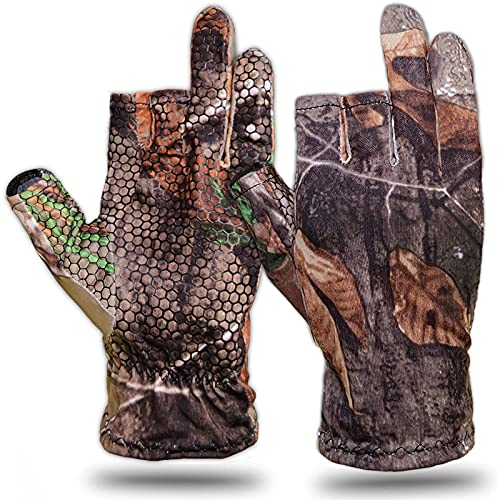 Camouflage Fingerless Hunting Gloves Lightweight Anti-Slip Stretch Fishing Gloves Archery Accessories Shooting Outdoors for Men Women (XL)