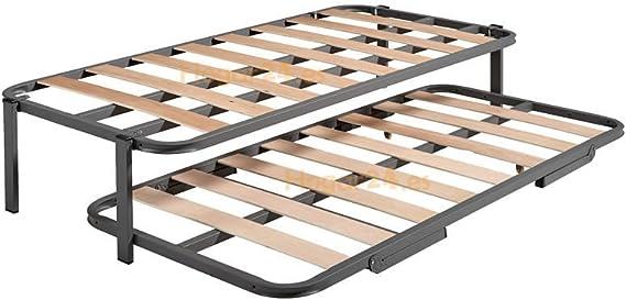 Hogar 24 Cama Nido con 2 Somieres Estructura Reforzada Doble, Acero, 90x180 cm