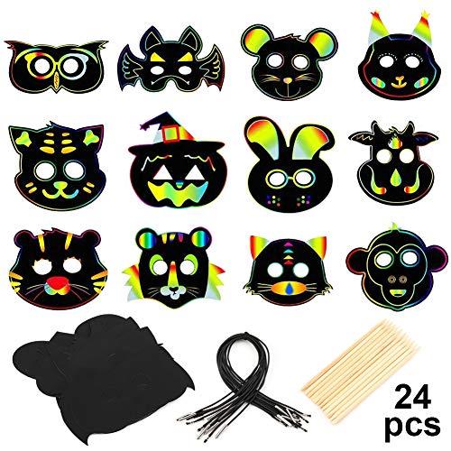 MWOOT 24 Stück Kratz Papier Tier Masken, Bunte Kratzmasken DIY Masken mit Gummiband und Holzstift für Party,Karneval, Cosplay, Weihnachten,Tierische Themen Partyzubehör