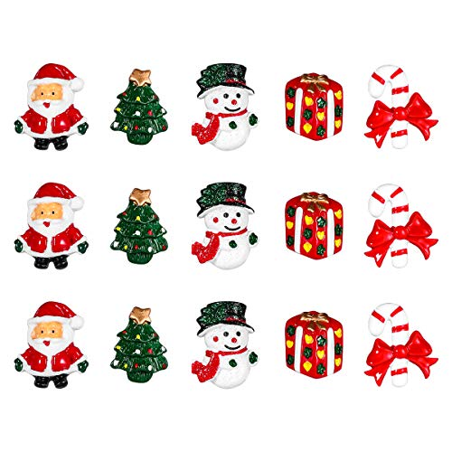 ROSENICE Christmas Ornaments Resin Snowman Santa Claus Christmas Tree Candy Cane Miniature Ornaments Decoration DIY Accessories - 15 Pieces
