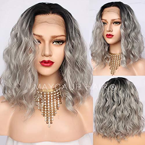 Maycaur 180 Density Gray Color Short en dentelle synthétique pour femme Noir