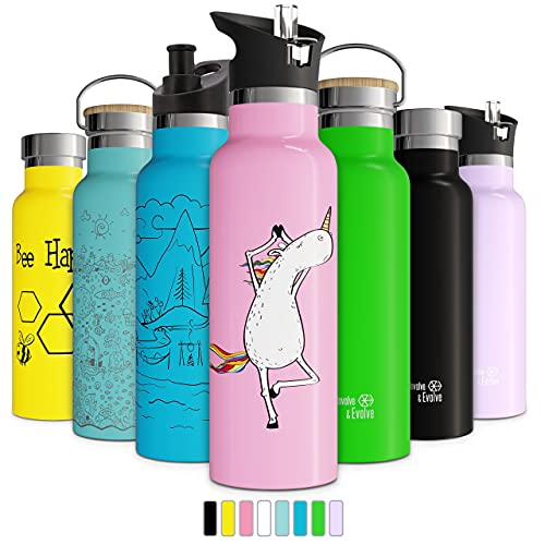 thermos insulated water bottles Involve & Evolve Insulated Water Bottle with 3 Lids (Straw Lid) Kids Reusable Double Walled Stainless Steel Flask Metal Thermos 12oz 17oz 20oz 25oz