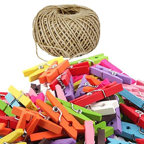 joyMerit 50 Unids/Lote de Clips de Madera con Pinzas de Papel Fotográfico de Primavera Pinzas Artesanales + Hilo de Yute para Decoración de Guardería de