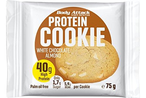 Body Attack Protein Cookie, Kekse einzeln verpackt, Gesunde Snacks mit viel Protein (White Chocolate Almond)