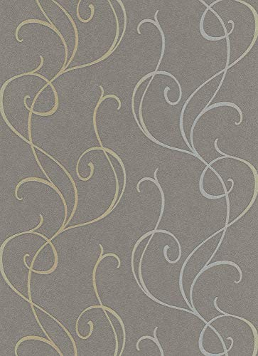 Vliestapeten Erismann 5915-11 grau/ braun/ silber Ranke Muster