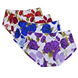 GLAMORAS Women Nylon Elastane Mid-Rise Ice Silk Seamless Floral Print Panties No Panty Lines Hipster Brief Underwear, Free Size, (Pack of 4) Red/Blue/Maroon/Purple