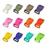 LIHAO 60pcs 5/8' Hebillas de Plástico Cierre de Hebillas(12 Colores)
