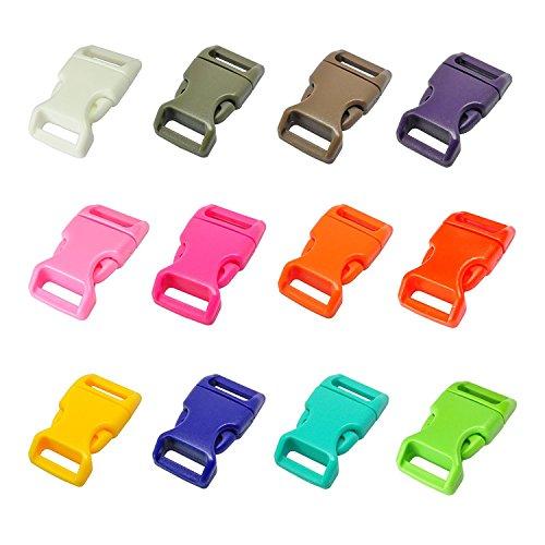 """LIHAO 60x Klickverschluss 5/8\"""" Klippverschluss für 15mm Gürtel Steckschließer 12 Farben Steckschnallen Kunststoff Release Buckles Rucksack Ersatzteile"""