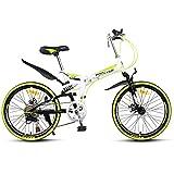 GPAN Vélo VTT Pliable Vélo de Montagne pour Hommes et Femmes 22 Pouces,Full Suspension,7 Vitesses,Double Freins A Disque,Yellow