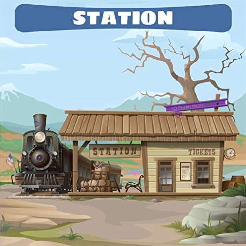 CSFOTO Polyester 4x4ft Cartoon Wild West Train Station Backdrop Cowboy Theme Birthday Party Background for Photography Children Kids Bday Photo Background