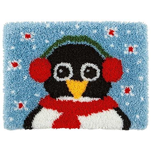 Alfombra Kits de Hilo de Ganchillo Patrón de pingüino Lindo Lienzo Impreso Bordado de Bricolaje Gancho de Cierre Kit de Alfombra Decorar el hogar Niños Adultos Festival Regalo 52x35cm