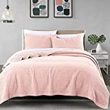 Wellbeing Quilt Set Hypoallergenic Lightweight Cotton, Easy Care Bedding Quilt Bedspread Set for King Size - Coral Pink, 3 Pieces