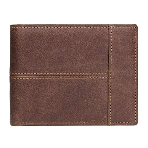 Mens Leather Wallet Large, Coin Pocket, 9 Credit Cards Slots, Removable Mini Wallet (Brown Striped)