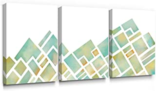SUMGAR Canvas Wall Art Bedroom 3 Piece Teal Green Pictures Modern Mountian Paintings Yellow Prints Artwork Nursery Geometric Decor,12x16 inch