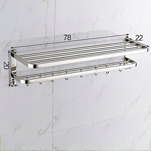 BOBE Shop- 304 roestvrij stalen handdoekhouder, aan de muur gemonteerde badkamer handdoekhouder rek rek met haken design (boorinstallatie)