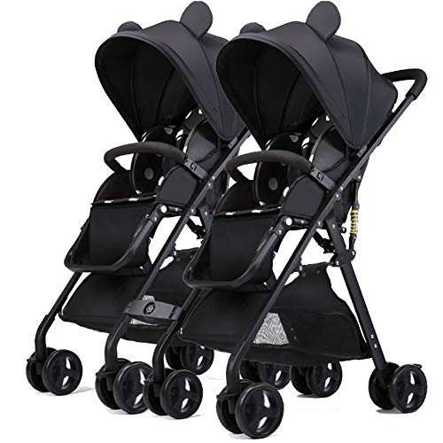 Find Discount ABM Double Stroller Children Cutest Design City Street Stroller Doll Twins Stroller Ba...