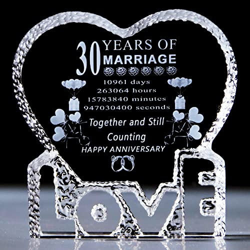 30 Years 30th Wedding Anniversary Gifts for Her Him, Laser Crystal...