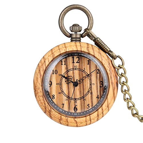 XXCHUIJU Números Romanos Mini Retro Collar Retro Dial Amarillo Madera Roja Cuarzo Reloj de Bolsillo Fob Cadena Colgante Reloj Unisex Regalos