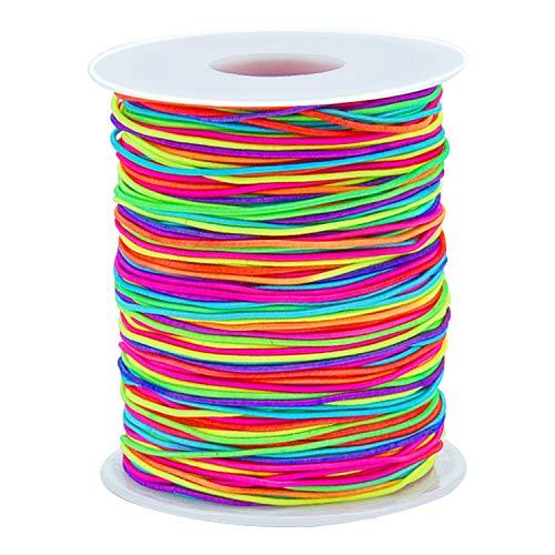 Sunmns 1mm Elastic Cord Beads Stretch String for Jewelry Bracelet Making, Rainbow 100 m
